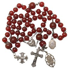 1910's Vintage Carnelian and Sterling Silver Catholic Rosary with Pilgrimage medals - Rare
