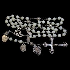 Highly Exceptional Vintage MOP & Sterling Catholic Rosary w Rare Antique Medals