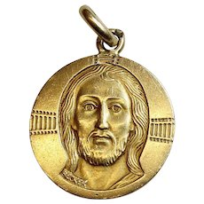 Early 1940's Vintage Medal the Byzantine Christ in Solid 18K Gold