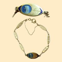 1930's Communion 18 K Solid Gold Bracelet with Blue Enamel Medal - Unique & Charming