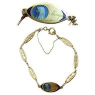 1930's Communion 18 K Solid Gold Bracelet with Blue Enamel Medal - Unique & Charming