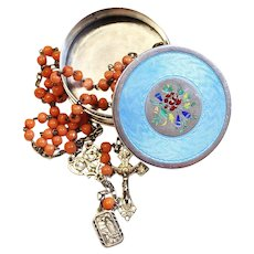 1920's Sardinia Coral & Sterling Rosary Late Art Nouveau in Enamel Guilloché Silver Box
