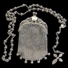 All Sterling Catholic Filigree Rosary in Sterling Mesh Purse - all Art Nouveau