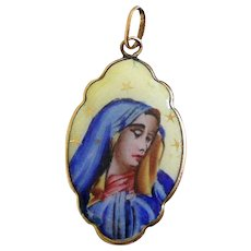 1920's Vintage Two sided Medal Mater Dolorosa Hand Painted Enameled in Gold Frame