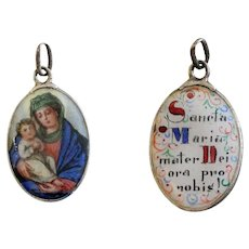 Vintage Two sided Medal Mater Dei Hand Painted Enameled in Silver Frame - Early 20th Cent.