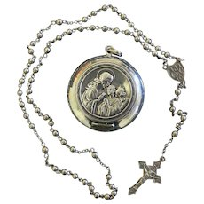 Vintage Sterling Mini Catholic Rosary in Sterling Box/Pendant - Exquisite, Rare Communion Present