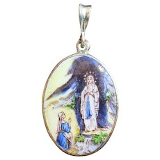 Vintage Medal Grotto Apparition of Lourdes Hand Painted w Sterling Silver Chain