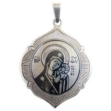 V. Rare Sterling & Niello Lady of Kazan Pendant w Chain USSR 1950's
