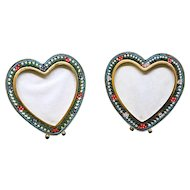 Vintage Millefiori Micro Mosaic PAIR of Heart Shaped Photo Frames New Old Stock Pristine Rare