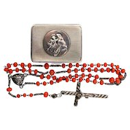 1850's Antique Coral & Sterling Rosary in Silver Box w St Anthony of Padova Medallion XXXR