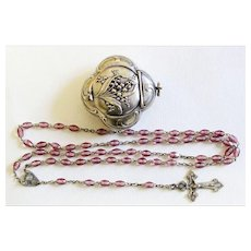 1940's Amethyst & Sterling Rosary in 19th Century Silver Chatelaine Box