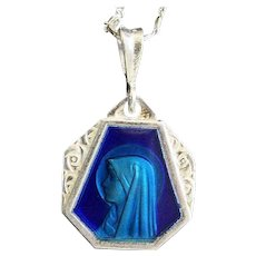 Vintage Silver Lourdes Holy Mary Blue Enameled on Both Sides Large Medal with Sterling Chain