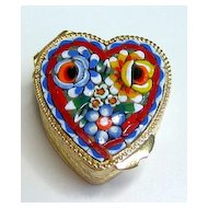 Vintage Micro Mosaic  Millefiori Heart Pillbox A New Old Stock