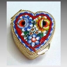 Vintage Micro Mosaic  Millefiori Heart Pillbox A New Old Stock