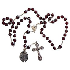 1905 Vintage Art Nouveau Garnet Sterling Silver Catholic Rosary w Communion Medal - Rare