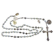 Vintage MOP & Sterling Highly Exceptional Catholic Rosary w Rare Antique Medals