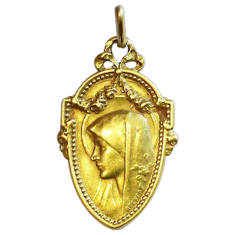 18K. Solid Gold 1919 Vintage Medal of Virgin Mary Art Nouveau by Becker