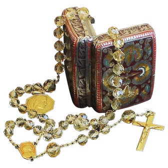1950 Rare Solid 18K. Gold and Faceted Citrine Rosary with Gold Medal in Enamel Box
