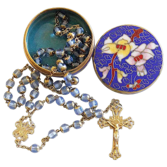 1930' Rare Sterling Silver All Capped Crystal Beads Rosary Art Deco in Cloisonné Enamel Box