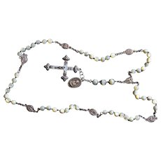 Early 20th Cent. Rare Rosary of our Lady of 7 Sorrows, MOP and Sterling Silver