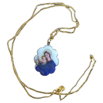1920's Two sided Medal Our Lady of Orta Di Chiavari Hand Painted Miniature in 18K Gold Frame - V.Rare