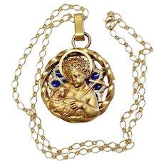 Vintage Gold Plated Plique-à-Jour V. Large Agnus Dei Pendant Signed Augis w Chain