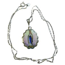 Two sided Medal Our Lady of Lourdes Hand Painted Enameled in Silver Frame w Chain - Early 20th Cent
