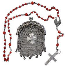 Vintage Coral and Sterling Catholic Rosary in Sterling Mesh Purse - all Art Nouveau