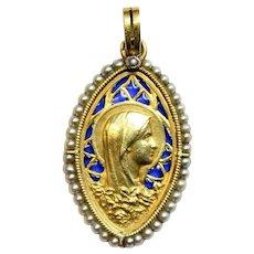 Vintage 18 K Gold Plique-à-Jour Virgin Mary Pendant Medal 1933 - Very Rare
