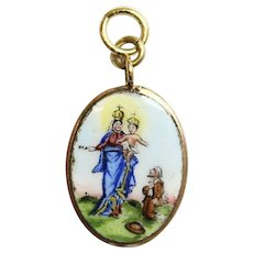 Early 20th Cent. Two Sided Medal Madonna Della Guardia Hand Painted Enameled in 18 K. Gold Frame - High Rarity