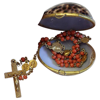 Vintage Coral and Gold filled Catholic Rosary in Cowry Shell box – Very Rare - Attractive and Highly Collectible