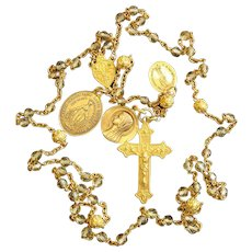 1930's Exceptional 18K. Gold & Citrine Rosary in Sterling Box Many Medals High Rarity