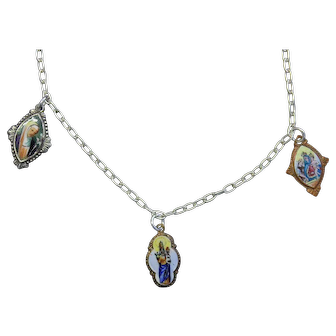 3 Vintage Enameled Miniature Hand Painted Enameled Medals on Sterling Silver Chain