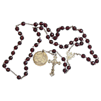 Dated 1879 Faceted Garnet & Sterling Silver Large Catholic Rosary -French- V.Rare
