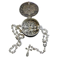Rare Vintage Sterling Silver Filigree Catholic Rosary and Box Set