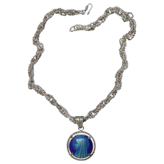 Vintage Blue Enameled V. Large Mary Medal w Sterling Hand Made Unusual Chain - Unique