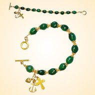 Catholic Rosary Bracelet Oval Genuine Emerald Beads, Vermeil Cross, Heart & Anchor
