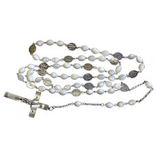 Stations of the Cross Unique Rosary all Vintage MOP & Sterling w 19th Cent Art Nouveau Cross