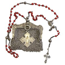 Vintage Mediterranean Coral and Sterling Catholic Rosary in Sterling Mesh Purse - all Art Nouveau