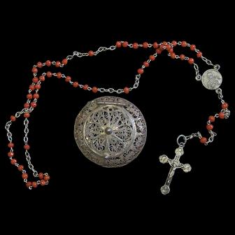 Vintage Salmon Coral & Sterling Catholic Rosary w Vintage Small Sterling Filigree box