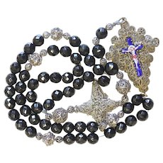 Exceptional Biedermeier Bavarian Black Garnet & Filigree Catholic Rosary Complete w. Credo and Reliquary Porcelain Inlay Cross