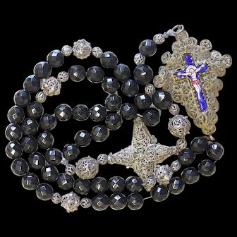 Exceptional Biedermeier Bavarian Black Garnet & Filigree Catholic Rosary Complete w. Credo and Reliquary Porcelain Inlay Cross