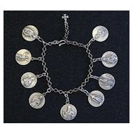 Vintage All Sterling Charm Heavy Bracelet with 9 Rare Pristine Saints Medal by Penin (2)