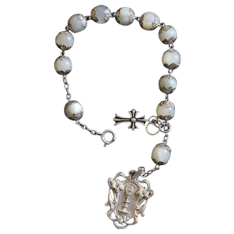 Early 1900's M.O.P and Sterling Communion Rosary Bracelet with Very Rare Sterling Silver Medal