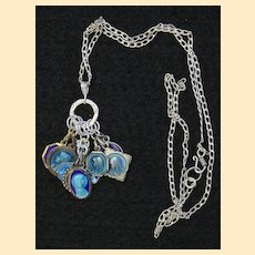Sterling Charm Pendant with 10 Vintage Rare Religious Medals Enameled on Both Sides