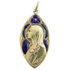 Vintage 18 K Gold Plique-à-Jour Virgin Mary Heavy Pendant Medal 1918 - Very Rare