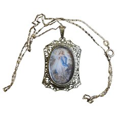 Late 1700's Medal Of the Immaculate Conception Hand Painted Miniature in 18K Gold Open Work Frame XXXR