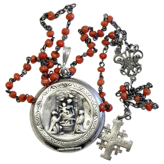 Vintage Coral and Sterling Catholic Rosary in Alpaca Medal Pendant Case - Unique -
