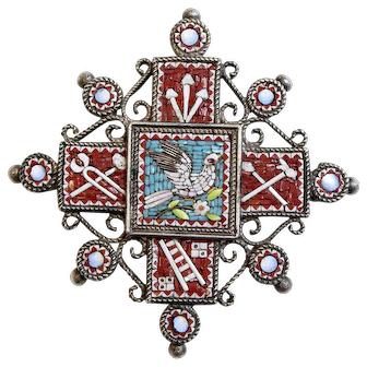 19th Cent. Sterling Grand Tour High Detail Micro Mosaic Cross Dual Use Brooch & Pendant w Chain XXXRARE