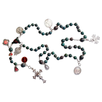Vintage Blood Stone & Sterling Catholic Rosary Early 20th Cent w 10 Rare Medals ca. 1750-1910 – French - XXXR